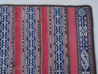 """Persian jajim Coverlet......circa 1900....weft-float brocade....5'5"""" x 6'4""""  (160 x 190 cm ) wool with goat-hair surround...mostly vegetal dyes...good condition as shown."""