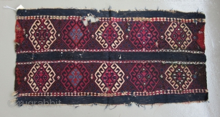 """Kurdish Cuval fragment.....Eastern Anatolia.....c. 1850.....reciprocal brocading and soumack.....wool on wool with silver-wrapped cotton thread.....20"""" x 40""""  (50 x 100 cm )"""