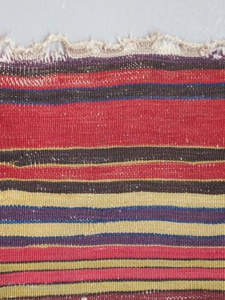 "Anatolian palas kilim fragment....Konya region ( Cecimusine ? ).... c.1825..... excellent color.....3'7"" x 6'6""  (110 x 200 cm )....condition as found and shown ."
