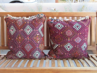 """Kurdish Saddlebag pillows....East Anatolian...circa 1875....19"""" x 22"""" each (48cm x 56cm ).....wool on wool with cotton highlights & 'wish' tassels .....reciprocal brocading ,sumac weaves....all vegetal and insect dyes....unused 'box' condition as shown ."""