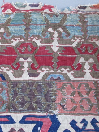 """Central Anatolian Kilim fragment...before 1825....3'4"""" x 7'10""""(100 x 240cm ) all wool....all vegetal dyes with excellent patina ..... condition as found and shown"""