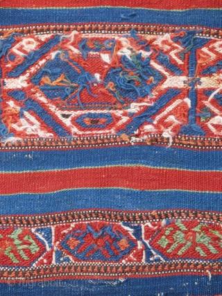 "Northwest Anatolian cuval...Bergama-Balikesir area...late 19th C.....vegetal dyes...all wool...reciprocal brocading ,sumac,cicim ....2'x 3'4"" (60 x 100cm )...good condition as found ."