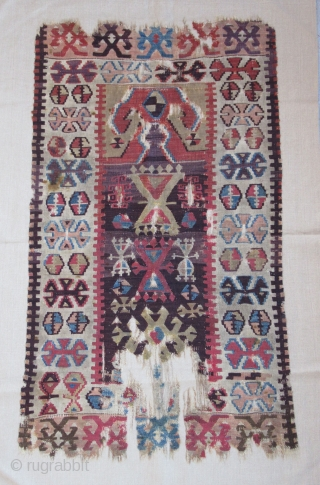 "Prayer Kilim fragment....Central Anatolia ( Yesilova ? )...before 1825....professionally mounted on linen....frag size/ 2'4"" x 4'2"" (70cm x 130cm ) excellent patinated vegetal dyes....