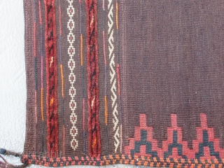 """Balouch Kilim Sofra.....circa 1930....2-pieces joined....5'9"""" x 5'9"""" ( 175 x 175 cm )...mixed weaving techniques...all wool...vegetal dyes / very small amounts of analine orange and fuchsine in the end panels.... excellent condition  ..."""