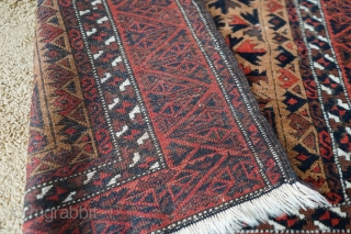 Antique Kawdani Baluch Camel wool prayer rug. Original sides and full pile except corroded dark brown/black which is typical for these. Very soft wool and amazing colors, look at that madder red!  ...