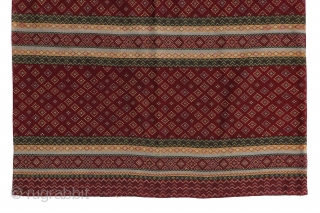 Early 1900s Burmese Hakachin silk tube skirt. Beautiful tight embroidery on this silk textile. 39'' x 27'' (99 x 69 cm)
