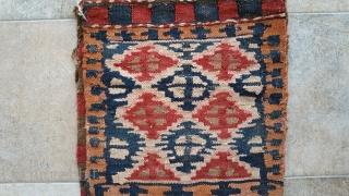Garabagh  khurjin (saddlebag )  Textile size :104 x 40 cm Wool on wool  Natural color ( yes ) front : Flatweave ( flat weave  technique ) back : Flatweave ( rah rah  )