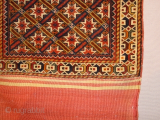 wonderful fine antique complete Qhashqay bag, with fine red woollen weft and complete closing sysytem, original kelim back, great even pile, great natural colors,no stains, no holes