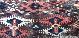 "Turkmen Chodor chuval. 19th century. Great colors and design details. Measures 108x62 cm (3'7""x 2')."