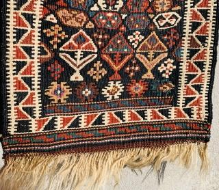 Khorasan kurdish soumac Textured with wool and abundant silk,1880 circa in perfect condazion•••size68x36cm