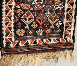 Quchan soumac Textured with wool and abundant silk,1880 circa in perfect condazion•••size68x36cm