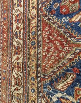 Qashqai rug 1880 circa,good connection no repair all natural colors and    original borders•••   size 210x140cm