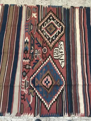270x185 cm Azarbaijan kilim in good condition,(dated 1359)