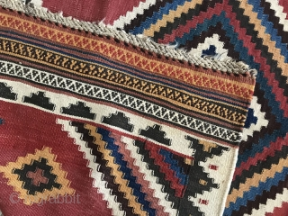 sw Persia double interlock kilim,Size:215x160 cm,after a hand wash a small hole in the field only were repaired carefully.