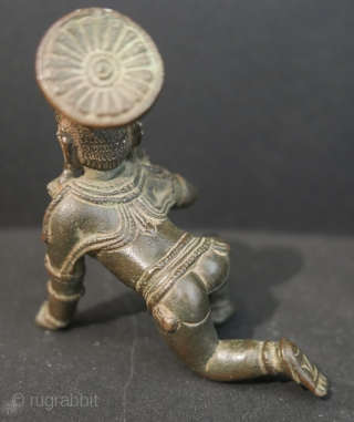 """17th c  Hindu 'Balakrishna',  bronze,  4""""H x 2""""W.   Museum quality but for a break in the fingers of the left hand."""