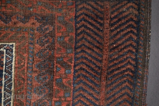 """Baluch Prayer Rug, size: 39"""" x 69"""" (+/-), a more precise attribution is difficult and tentative, one sees what is an early blend of Timuri and Dokhtor design and structural elements, natural  ..."""
