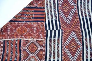 "Large Kurdish kilim two panel woven with intricate Soumak weaving from SE Turkey. 130"" x 67"""