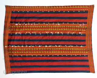 Philippines Kalinga woman's cotton wrap-around skirt with beadwork and mother of pearl fragments, natural dyes, Apayo Province and parts of Abra Province, Northern Luzon, early/mid 20th century.