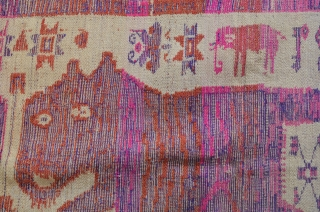 "Lao-Tai Textile Cloth  Khiao Ser (Tiger) pair used by Shamans during healing and funerary ceremonies to attract powerful and protective spiritual forces. woven with silk on cotton. 50"" x 33"""