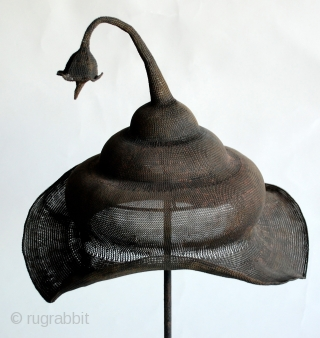 Sumbawa, Indonesia Ceremonial Copper Wire Hat, hand plaited fine copper wire woven hat used in ritual ceremonies.