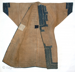 """Late 19th century Ainu ceremonial robe  elm bark fiber, indigo dyed cotton, silk threading, approx. 44"""" (length) by 46""""  The ancestors of the Ainu were a Neolithic aboriginal Eurasian people who occupied Japan before  ..."""