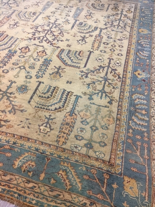 Antique Handmade  Turkish Oushak Wool Rug,Ca:1920, very good condition,Soft,good pile just somewhere pile it is little bit low,Size:13.2 ft by 11.2 ft,402 cm by 340 cm