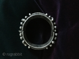 North African Mauritanian silver bracelet, two- part, hinged, 170g.