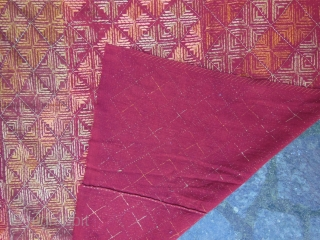 Red ground wedding Bagh,Punjab,good condition,some parts of the embroidery are worn,cm.122x240