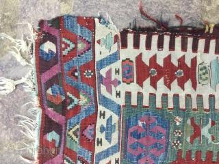 Beautiful Anatolian AYDIN? Prayer kilim fragment Cm.92x165.Great colors!