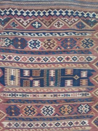 Antique,beautiful Quashqai kilim,complete but partially worn,cm.140x200
