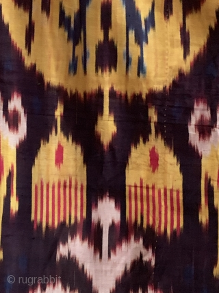 a very rare complete antique Uzbek silk atlas satin weave Ikat trousers dating to the 19th Century. This highly collectible ethnographic garment is attributed to the city of Bukhara. Such silk embroidered  ...