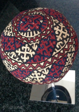 An exceptional and rare antique silk embroidered Yomud / Yomut tribe Turkoman / Turkmen hat.  There is a distinctive beauty to a good Turkoman embroidery that is unlike that of their  ...