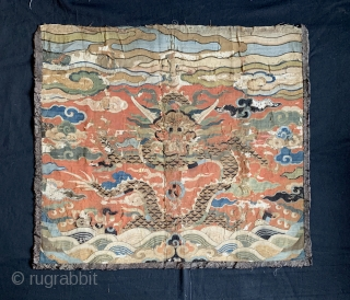A museum grade and very rare Antique imperial early 17th century Chinese Ming dynasty dragon gold and silk k'o-ssu / Kesi weaving.. This is one of the rarest type of textile that  ...