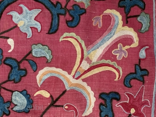 An outstanding silk on silk embroidered antique Uzbek suzani / susani from the rural Shahrisaz regions of Uzbekistan. For its type, it is a relatively older example dating to the 3rd quarter  ...