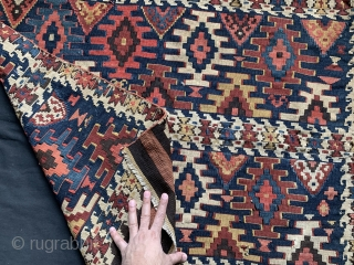 A beautiful and large Antique Caucasian or Shahsavan / Shahsevan flat weave bag face dating to the 19th century. It's all wool finely woven in slip tapestry weave. The colours are fantastic  ...