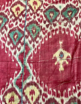 An exceptional antique Uzbek silk adras Ikat hanging from Bukhara / Bokhara. Dating between mid to third quarter of the 19th century, this is a silk warp and cotton weft Ikat (a  ...