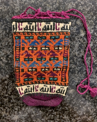 A beautiful and rare antique silk woven Persian or Kurd bag / pouch, dating to late 19th century / early 1900. Such little bags were very likely dowry offerings and tribal. This  ...