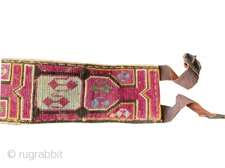 A beautiful antique silk cross-stitched belt made by the Uzbek Lakai tribe of Central Asia. This fine and functional belt, dates around early 1900's and was worn likely by a man over  ...