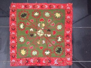 An excellent antique Uzbek kungrat tribe silk embroidered ilgitch (oyna khalta) hanging. It dates to late 19th century and is a very nice archaic piece. The embroidery is very fine silks on  ...