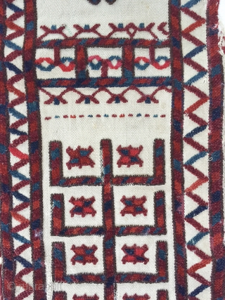 An excellent antique Turkoman / Turkmen Tent band fragment likely Yomud / Yomut tribe. A very old piece (second half of 19th Century) with excellent colours. This fragment is mounted on a  ...