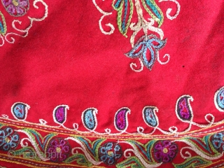 A beautiful antique Persian Resht embroidery. Dating to late 19th century, it is chain-stitched silk embroidered on a red wool ground. Resht embroideries are some of the most visually interesting textiles of  ...