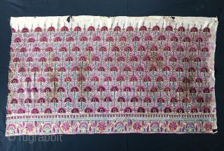 An exceptionally fine Antique Indian silk on silk embroidery dating to the 19th century. It is possibly from Rajasthan and likely a dowry piece. The chain stitched silk embroidery is extremely fine  ...
