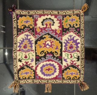 An antique Central Asian Embroidery Hanging (possibly Uzbek or Tajik ). It dates to late 19th century with mainly silk and some cotton and beaded work embroidery. A beautiful rare piece with  ...