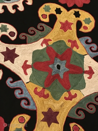 An brilliant and top tier example of an antique Uzbek Lakai Tribe silk embroidered Ilgich / Ayna Khalta hanging dating to the last quarter of 19th century. This particular example is top  ...