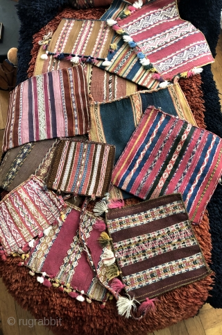 Selection of beautiful, old Aymara coca bags.  All colors natural. All 19th century or before.  Request additional images of these or of others available.