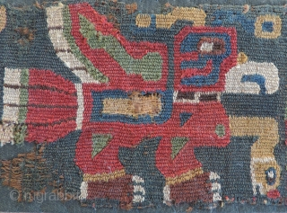 Tiwanaku Interlocked Tapestry Belt Fragment. A.D. 200 - A.D. 400.  26 x 3.5 inches. Early Tiwanaku textiles are the rarest of all pre-Columbian textile groups.  They are often highly figurative  ...