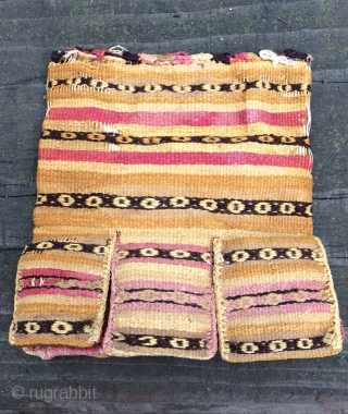 Four pre-Columbian food bags with original contents.  South coastal Region of Peru.  A.D. 500 - A.D. 1200, but it is hard to determine exactly without doing a c14 measurement.   ...