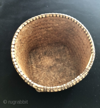 Dayak Seed planting basket.  Iban Dayak Sarawak, Malaysia.  Late 19th early 20th century.  Rattan and bamboo.  6.5 x 7 inches in diameter.  The basket is intact and  ...