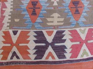 Anatolian Kilim Half. 1st Half of the 19th century.  Solid condition, unusual color scheme.  Reasonable price