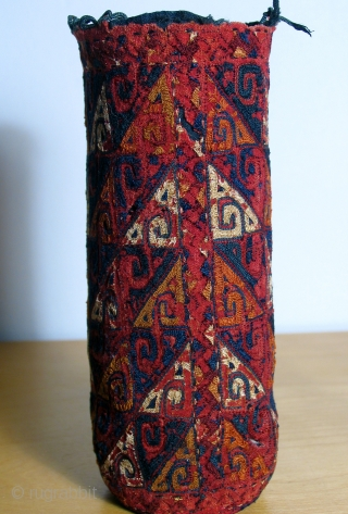 Yomut embroidered pouch, (pen box cover) early 19th century. Worn, but old! This piece has soul.